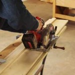 Rip it. This jig's platform matches the width of the saw's shoe from the blade to the edge; the edge of the shoe rides against the fence. To use it, align the jig's bed with your cutline, then clamp it in place. Keep the saw tight against the fence as your cut.