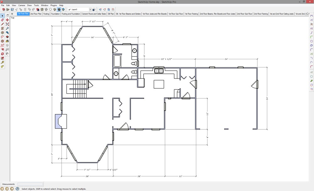 2d drawing in sketchup popular woodworking magazine for How to design a floor plan in sketchup