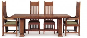 These chairs and the extension table were designed for Susan Lawrence Dana in 1902. Pictured above are reproductions from Copeland Furniture, which holds exclusive license to build these and other Frank Lloyd Wright designs.
