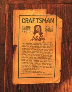 This trademark from Gustav Stickley's Craftsman Workshops is found on pieces manufactured from 1912 to 1916. The designs were out of production for a number of years, and thus are now in the public domain.