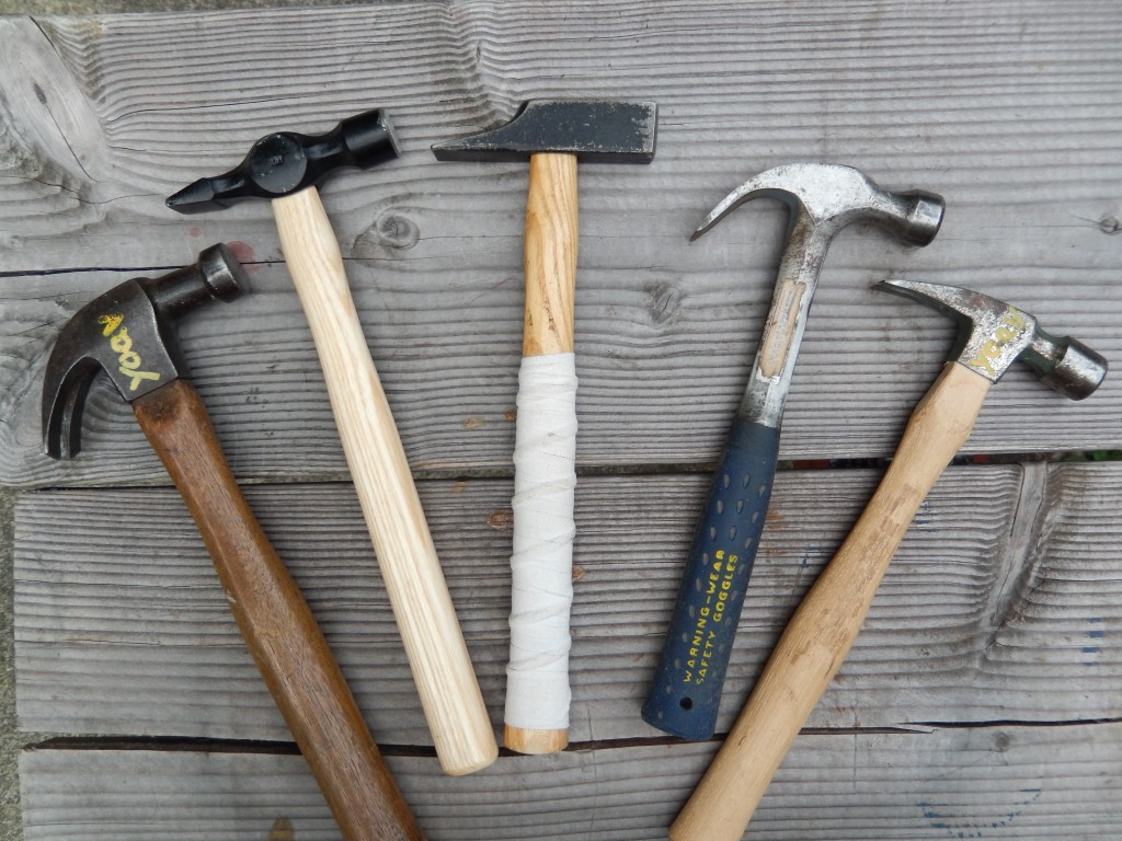 Woodworking hammers. From left to right: Medium weight claw head, Warrington, French/German, two of my lightweight claw hammers