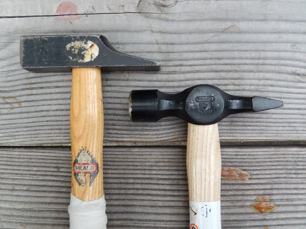 These are the the Cabinetmaker's Hammers that I use often. The hammer on the left is of the French/German pattern, on the right is the English or a Warrington Hammer.