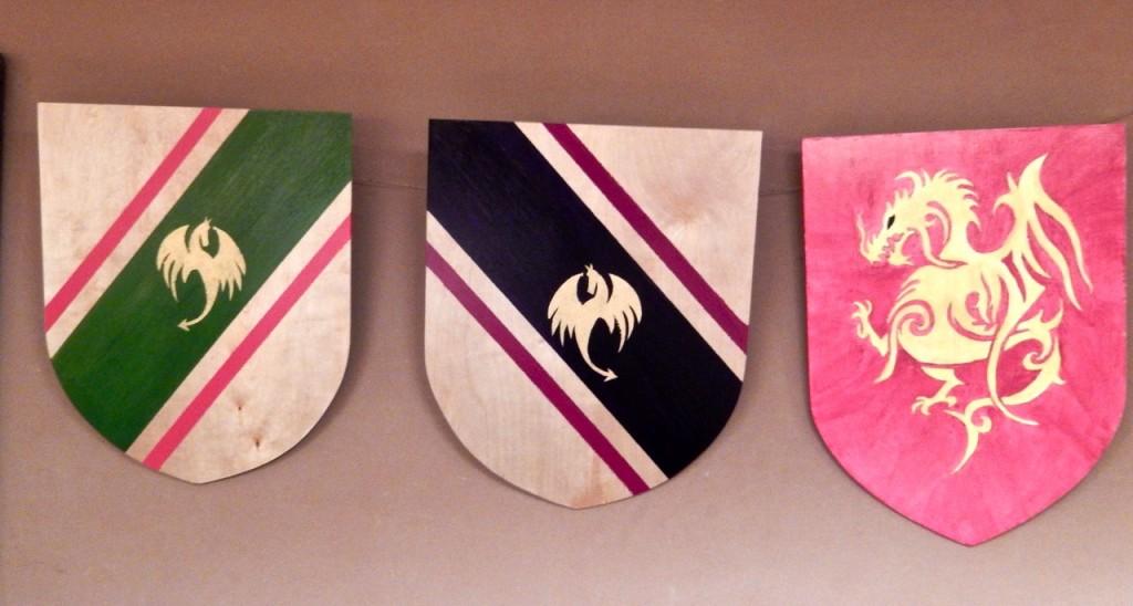 Wooden shieldes for sale at Rudolf Steiner School Fall fair