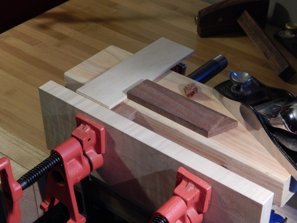 A shop made planing T-Square allows me to plane small parts on the Bench Bull.