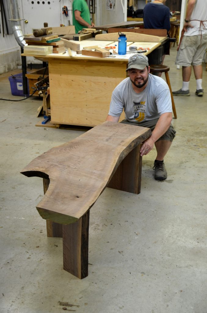 Chad staged a few optional locations for the legs positions under the top. Here is one of his first choices.