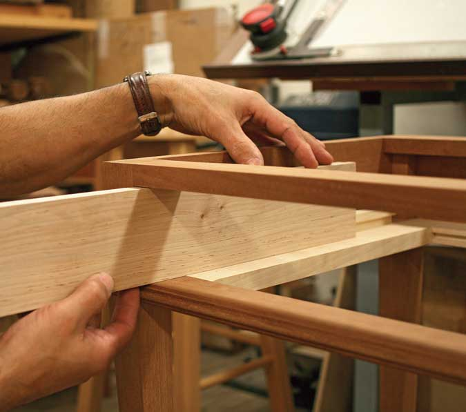 dovetailed drawers fiting sides