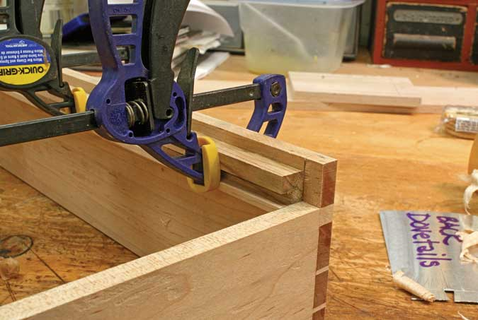 dovetailed drawers glue slip