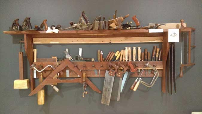 french tool rack in walnut