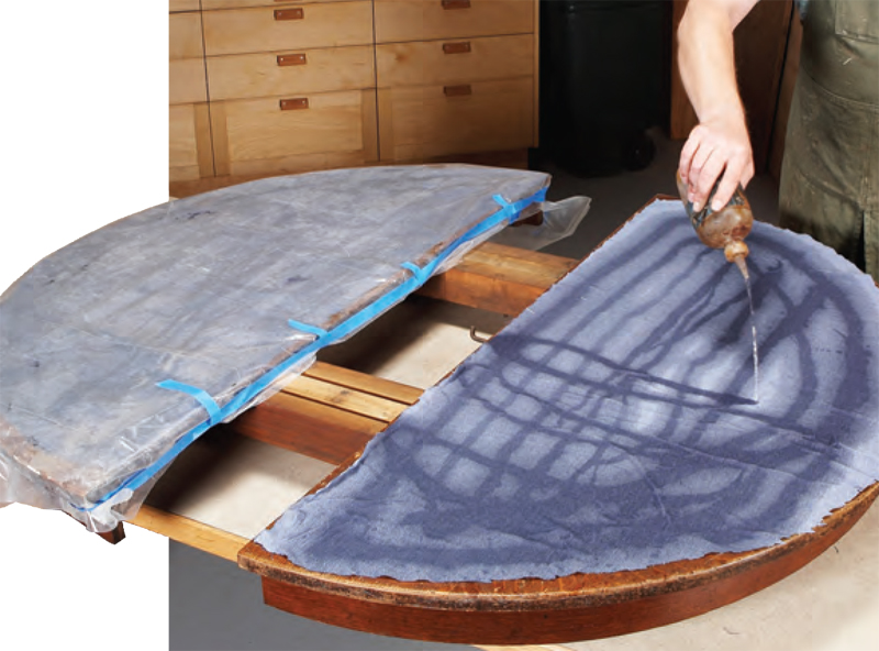Remove the top's old finish. Cover the top with cloth cut to fit, and  saturate its surface with alcohol. Cover the saturated cloth with plastic,  ... - AW Extra 9/13/12 – Restore An Antique Oak Table Popular