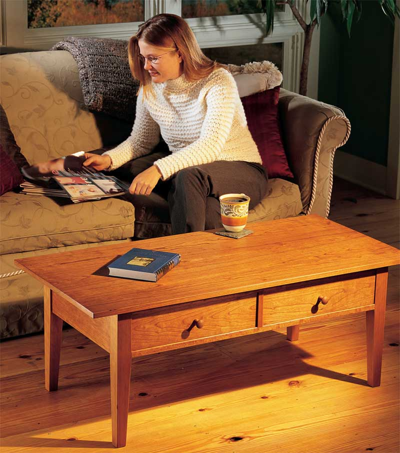 Two Drawer Coffee Table Popular Woodworking Magazine - Wood-coffee-table-plans