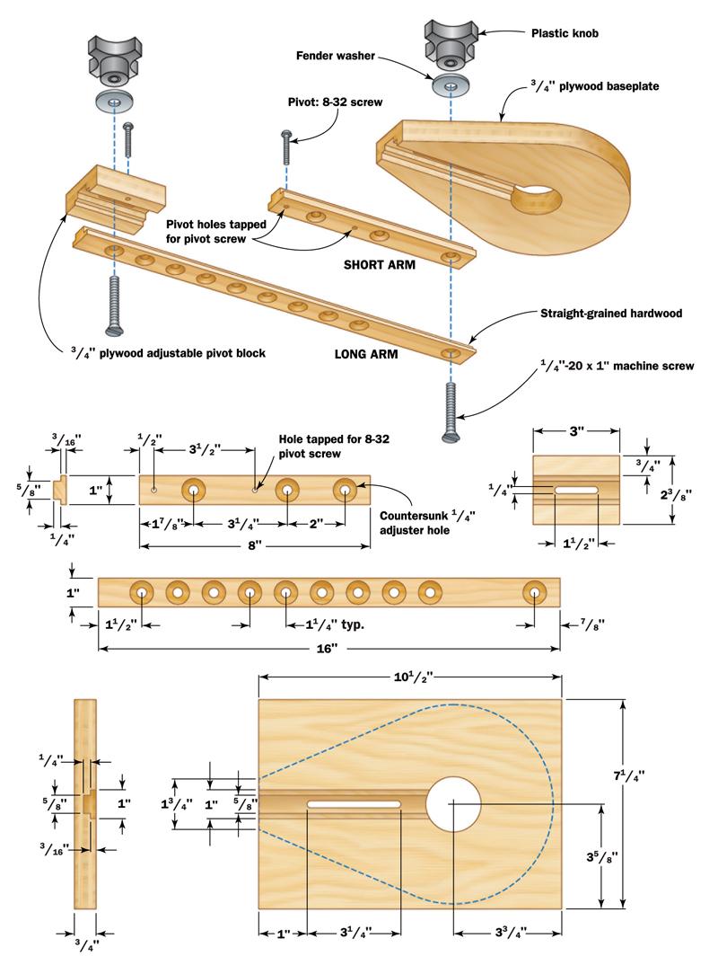 Adjustable Trammel diagram
