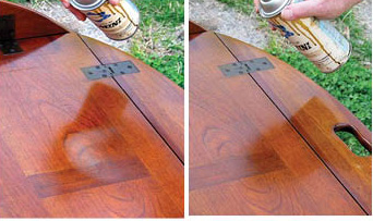 """For lacquer finishes, spraying a light mist of """"blush"""" eliminator (butyl Cellosolve) is very effective for removing light water damage. My friend took his table out of his vehicle and set it on the grass. Within a minute or two I had removed the white mark with my """"magic"""" aerosol."""