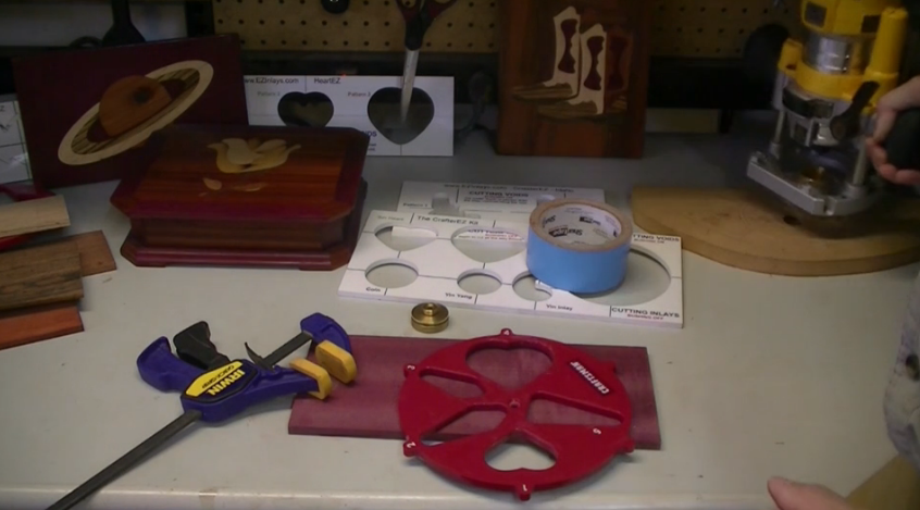 Double-sided tape is a helpful tool for wood inlay work
