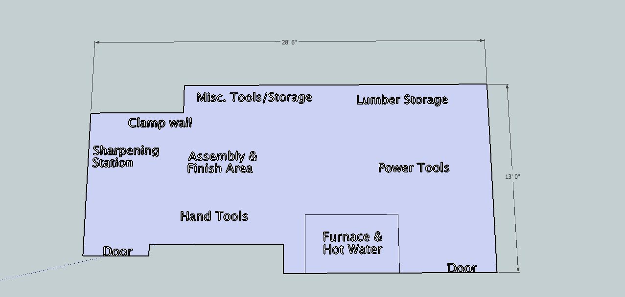 Woodshop layout tour and tips from matt 39 s basement workshop for Small woodworking shop floor plans